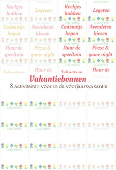Gratis download voor 8 vakantiebonnen met leuke activiteiten voor de in voorjaarsvakantie.