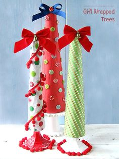 Wrap cones with tissue paper or wrapping paper for a DIY Holiday Christmas Tree at sewlicioushomedecor.com