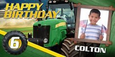 Little Farmer with a tractor birthday banner! Could also make a tractor cake! Personalized Happy Birthday Banner, Personalized Birthday Banners, First Birthday Banners, Cars Birthday Parties, Tractor Birthday, Pirate Birthday, Princess Birthday, 21st Birthday, Car Banner