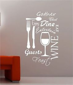 food and wine wall art   ... WORD CLOUD vinyl wall art QUOTE sticker dining food wine   eBay