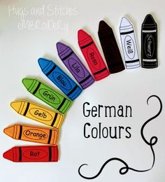 German Colours Finger Puppet set Teaching Aid Learning | Etsy Jumbo Crayons, Spanish Colors, Dinosaur Mask, Finger Puppets, Learning Colors, Color Names, Orange, Embroidery Thread