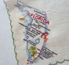 Vintage Swiss embroidered FLORIDA State Souvenir Handkerchief Hanky