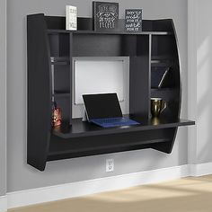 Floating Desk With Storage Wall Mounted Computer Desk Work Station Indoor Home