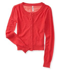 Sheer Back Polka Dot Chiffon Cardigan from Aeropostale