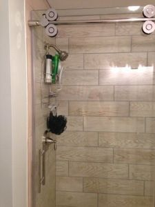 Wood tile shower