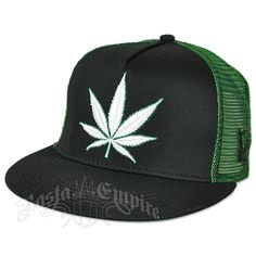 Weed Leaf Black and Green Trucker Cap