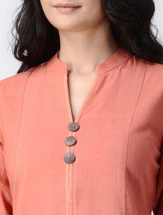 Peach Handwoven Khadi Cotton Kurta - All About Churidhar Neck Designs, Salwar Neck Designs, Neck Designs For Suits, Neckline Designs, Kurta Designs Women, Designs For Dresses, Blouse Neck Designs, Blouse Styles, Collar Kurti Design