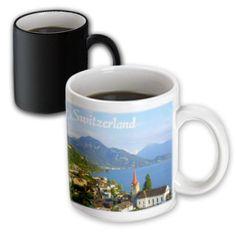 3dRose Switzerland tourist travel souvenir - Swiss landscape photo of pretty lake town Weggis near Lucerne, Magic Transforming Mug, 11oz
