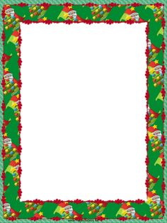 Jolly Santas and festive Christmas trees decorate this free, printable, winter holiday border. Free to download and print.