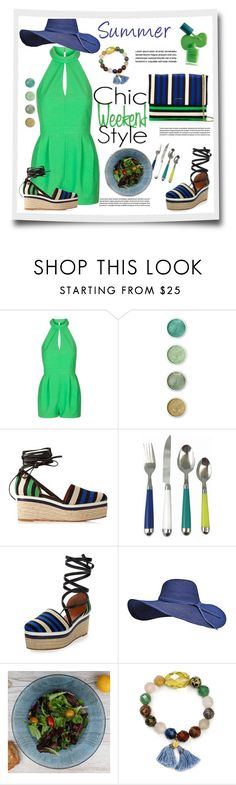 """""""Romper, weekend lunch style..#blue #green #wedges #romper #summerhat #crossbody #contestentry #polyvore"""" by fashionlibra84 ❤ liked on Polyvore featuring Topshop, Terre Mère, Lanvin, Outdoor Oasis, Dibor and Chan Luu"""