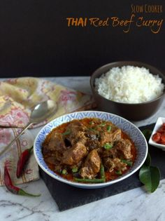 Slow Cooker Thai Red Beef Curry | thecookspyjamas.com
