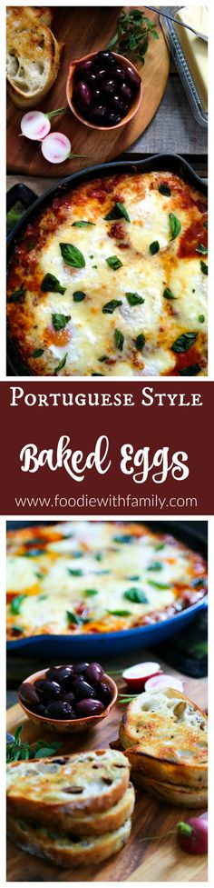 Portuguese Style Baked Eggs. Spicy tomato and red pepper sauce, three cheeses, fresh herbs from foodiewithfamily.com