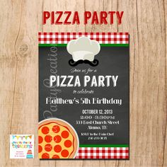 CHALKBOARD PIZZA invitation  YOU Print by PrettyPartyCreations, $11.50