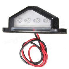 [US$6.99] 10-30V 4 LED Rear License Plate Light Lamp Truck Trailer Waterproof  #1030v #lamp #license #light #plate #rear #trailer #truck #waterproof