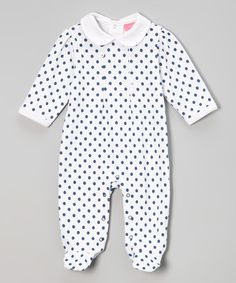 This Isaac Mizrahi New York White & Navy Polka Dot Footie by Isaac Mizrahi New York is perfect! #zulilyfinds