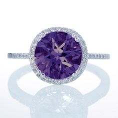 14K White Gold Round Amethyst Diamond Halo ..... If I had all the money in the world I would have all of these