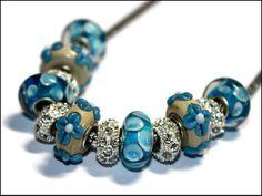 European Beads Modulperlenkette Blau-Beige von Decora Amilla - Handgemachter Unikatschmuck auf DaWanda.com