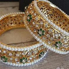 Stunning Hyderabadi Cuff Pakistani / Indian Jewelry by HQJewels Indian Jewellery Online, India Jewelry, Diy Schmuck, Schmuck Design, Cute Jewelry, Bridal Jewelry, Gold Jewelry, Jewelry Logo, Cartier Jewelry