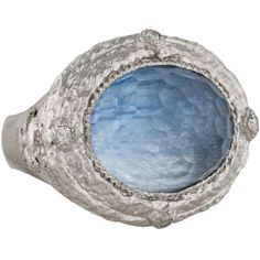 Pre-owned Armenta New World Kyanite and Quartz Diamond Cocktail Ring ($495) ❤ liked on Polyvore featuring jewelry, rings, armenta rings, pre owned rings, diamond cocktail ring, armenta and diamond rings