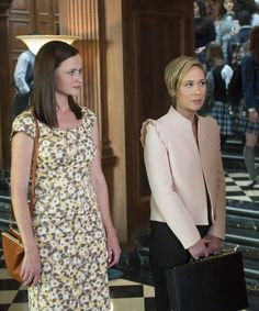 Gilmore Girls A Year In The Life Photos | Paris and Rory are reunited, and it feels so good. #refinery29 http://www.refinery29.com/2016/11/129392/gilmore-girls-a-year-in-the-life-photos