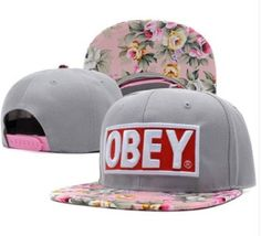 570cfdbd62a86 OBEY Floral Snapback Hats Grey Top Quality Men Women s Classic Baseball Caps  China