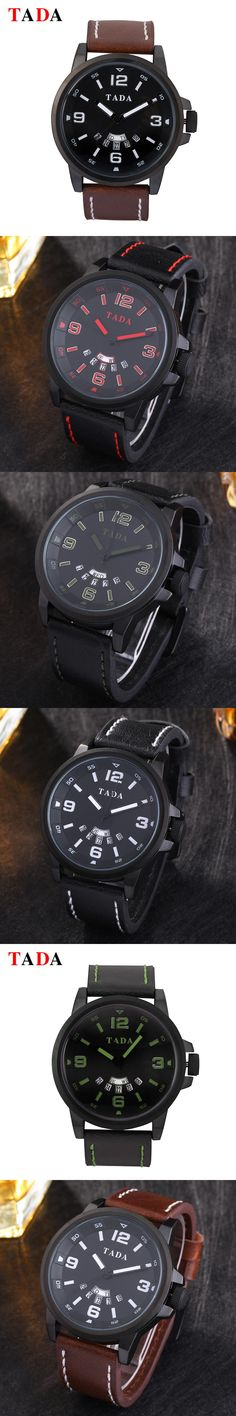 3ATM Waterproof Relojs Leather Wristwatches Hot sales Brand TADA Double date watches Women big face men watches military army