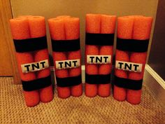 Minecraft TNT using pool noodles.  Might be a good time of year to find them on clearance.  Or cover TP tubes.