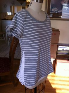 Refashioned Basic T-shirt [Thank you to Mary from marysthriftychic.com for this great and simple tutorial for those of us who sometimes feel that the good old t-shirt is sitting a little tight around the tummy - it's also a good idea for a maternity top - December 2013]