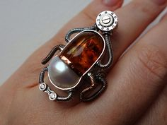 Sterling silver, copper and Baltic amber ring  Steampunk jewelry