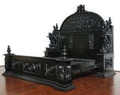 Black Medieval Gothic E. King Bed w/ 2 Nightstands - Black Gothic Orn. - Black Medieval Gothic E. King Bed w/ 2 Nightstands – Black Gothic Ornate E. King Bed w - Medieval Gothic, Victorian Gothic, Medieval Bed, Gothic Chic, Victorian Bedroom, Goth Home Decor, Gothic Furniture, Furniture Care, Handmade Home Decor