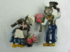 Dutch Pins Dutch Couple Figural Pins Scatter Pins (25.00 USD) by VintageSparkleyBits
