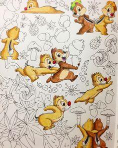 大好きなチップとデールを塗り始めました♪頑張るぞー! #四季を彩るディズニー塗り絵 #コロリアージュ #塗り絵 #ぬりえ #大人の塗り絵 #チップとデール #ディズニー #色鉛筆