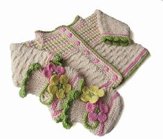 Knitted baby jacket and booties  knitted baby set  by MiaPiccina, $58.00