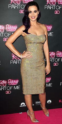 Katy Perry in gold strapless dress with black netting at the 'Katy Perry: Part of Me' premiere in Sydney