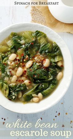 Our White Bean Escarole Soup is a healthy twist on an Italian classic. Vegetarian, gluten free, and vegan, this recipe is the perfect chilly day go-to!