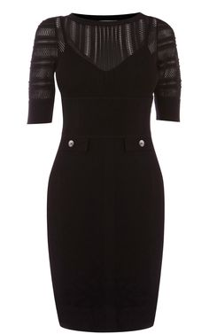 Karen Millen KN084 Black Lace and Stretch Knit Dress -  yescoastdresses.com -   Karen Millen KN084 Black Lace and Stretch Knit Dress