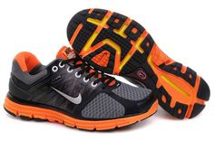 Nike LunarGlide 2 Black Grey Orange Men's Running Shoes. Halloween colors. :)