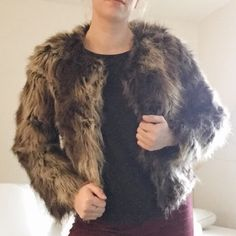 """Faux Fur Fluff Jacket Barely worn faux fur jacket. Shell 64% acrylic 36% and 100% polyester lining. Do not wash or dry clean due to synthetic fibers. I'm 5""""4 and 127 lbs. Forever 21 Jackets & Coats"""
