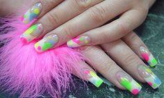 Acrylic Nail Designs 2014 Summer Nail Designs 2014, Cute Acrylic Nail Designs, Cute Acrylic Nails, Simple Nail Designs, Bright Summer Nails, Gem Nails, Simple Style, You Nailed It, Neon