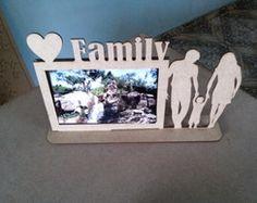 Porta Retrato Family Em Mdf Crú A Laser
