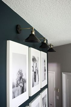Install Wall Sconces Without Running Electrical Within the Grove Sconces Living Room, Accent Walls In Living Room, Living Room Lighting, Wall Sconces, Wall Light Fixtures, Light Picture Wall, Picture Lighting, Navy Accent Walls, Family Room Walls