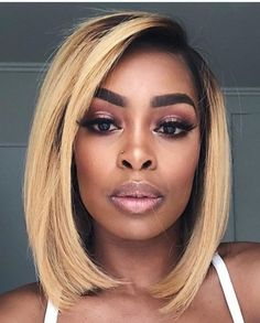 Ombre Shorts Bob Full Lace Wigs With Baby Hair Brazilian Virgin - Hair Styles Trending Hairstyles, Girl Hairstyles, Natural Hair Styles, Short Hair Styles, Non Blondes, Looks Style, 100 Human Hair, Textured Hair, Lace Wigs