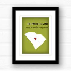 South Carolina...  Miles and miles of beaches, Hilton Head, Myrtle Beach, gorgeous gardens and plantations, and home to some big names such as Dizzy Gillespie, Andie MacDowell, and William The Refrigerator Perry. Not to mention the coolest state logo ever.  _________________________________________________________ GIMME ALL THE DETAILS:  —Print measures 11x14 and has a small white border all around for easy framing!  Please let me know the following: 1. Background Color — Photo 4 shows your…