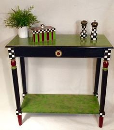 Whimsical painted furniture, painted console table, whimsically painted table, console table painted furniture, hand painted home decor - Trend Furniture Diy Refurbished 2019 Whimsical Painted Furniture, Hand Painted Furniture, Funky Furniture, Paint Furniture, Repurposed Furniture, Furniture Makeover, Furniture Ideas, Furniture Stores, Furniture Design