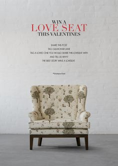 Win A Loveseat, This Valentines!  Share this image, tag Gulmohar Lane and a special one you want to share this loveseat with and tell us why. The best story wins a Loveseat from our collection.  Follow the Link below to participate on Facebook or Instagram. Facebook - https://www.facebook.com/gulmoharlane/photos/a.718185501631399.1073741831.668405596609390/1185495931567018/?type=3&theater   Instagram - https://www.instagram.com/p/BQQGikuFlT1/