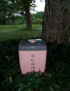 Canisters Mid Century Pink & Grey Camp Sixties by AntiquesandVaria, $42.20