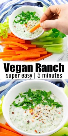 vegan ranch is not only super creamy and tangy but also incredibly easy to make. It's great as a dip with veggie sticks, cauliflower wings, or as a vegan salad dressing. And it's ready in less than 5 minutes! Vegan Keto, Healthy Vegan Snacks, Vegan Appetizers, Vegan Foods, Vegan Dishes, Vegetarian Recipes, Healthy Recipes, Vegan Party Food, Vegan Recipes Plant Based