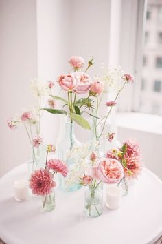Blush floral inspiration - use any old jar you can find for a vase!
