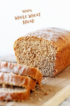 At last a loaf recipe, for everyday toast and sandwiches, that is made only with whole wheat flour! The process is quite traditional and the hands-on work is not much. The crumb is soft and delicious, and it's the perfect bread to have sliced and frozen at all times. #wholewheat #bread #homemade #easy #yeast Wheat Bread Recipe, Tasty Bread Recipe, Sandwich Bread Recipes, White Wheat Bread, 100 Whole Wheat Bread, Baking Recipes For Kids, Easy Cake Recipes, Pumpkin Coffee Cakes, Oatmeal Bread