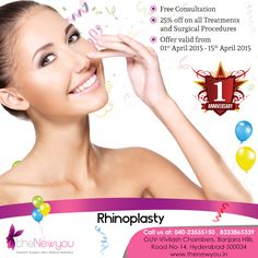 Avail the #1stAnniversary offer at theNewyou and enjoy #freeconsultation and 25% off on #alltreatments and #surgicalprocedures. Offer valid till 15th April 2015.